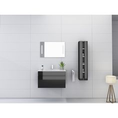 Orren Ellis Kimbrough 32 Wall-Mounted Single Bathroom Vanity Set with Mirror Orren Ellis Vanity Set With Mirror, Wall Mounted Vanity, Single Sink Bathroom Vanity, Vanity Sink, Modern Vanity, Modern Bathroom, Bathroom Ensembles, Kitchen Bath Collection, Open Cabinets