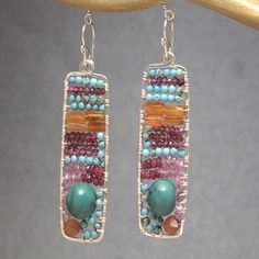 Hammered drop earrings turquoise, carnelian, pink and red ruby Bohemian 136 by CalicoJunoJewelry on Etsy https://www.etsy.com/listing/200345622/hammered-drop-earrings-turquoise