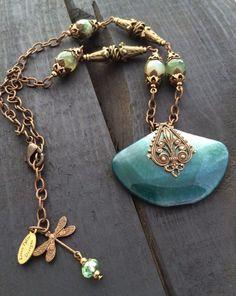 Antique Brass Agate Necklace Green Necklace by KarenTylerDesigns, $54.99