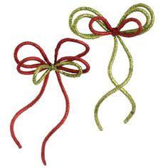 "Glittered Red  Lime Green Rope Bow Ornaments 12""  Price : $15.95 http://www.perfectlyfestive.com/RAZ-Imports-Glittered-Green-Ornaments/dp/B008SKKI06"