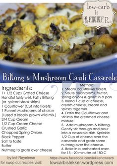 Biltong, mushroom and cauli casserole [ NYBiltong.com ] #biltong #recipe #flavor
