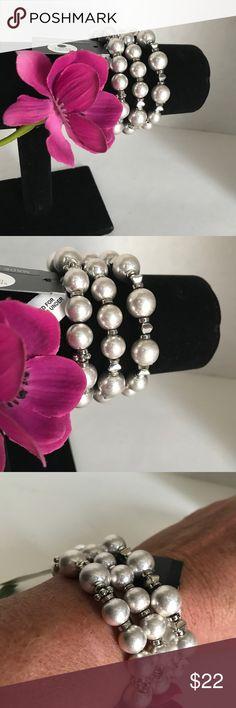 Silvertone pearls, stretch bracelets, set of three Silvertone faux pearls, stretch bracelets, set of three by Gabrielle New York.  (ItemS10) Gabrielle New York Jewelry Bracelets