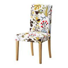 HENRIKSDAL Stoel - Blomstermåla veelkleurig, eiken - IKEA