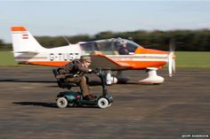 Colin Furze races his mobility scooter against a plane Colin Furze, Digital Literacy, My Ride, Plane, Baby Strollers, Racing, Bike, Mobility Scooters, Children
