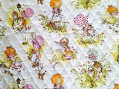 "#1970s #vintage Holly Hobbie quilted #fabric - 27"" x 37"" #whitecottagesupplies http://etsy.me/14KCvAx #sewing #crafting #retro #cute #quilting #supplies, $10.00"