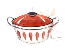 no illustration by Mona Stenseth Larsen Pencil Painting, Illustrations, Casserole, Retro, Drawings, Inspiration, Norway, Vintage, Food