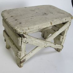 Antique Rustic Wooden Primitive Farm Step/Foot Stool Stand Childs Bench -sold $129