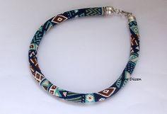 Bead Crochet Necklace  Beaded Necklace  Dark Blue by alevduzen