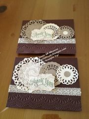 With our new Delicate Doily Sizzlits, the Big Shot and the Delicate Designs Folder helped to create this lovely card. I punched out the doilies in both both Very Vanilla and Crumb Cake. I ran the Chocolate Chip paper thru the folder to create the lacy edge. I thought the larger doily was too plain do I stamped, with Crumb Cake, the Gossamer Lace lil stamp.