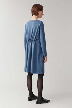 LONG ELASTIC-WAIST DRESS - Light Blue - Dresses - COS Light Blue Dresses, Leather Loafer Shoes, Elastic Waist, Women Wear, High Neck Dress, Elegant, Long Sleeve, Womens Fashion, Casual