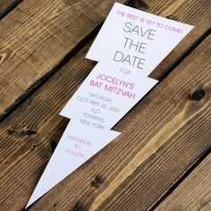 Awesome custom save-the-date card for a Bat Mitzvah in the shape of a lightning bolt! Perfect for Harry Potter theme?