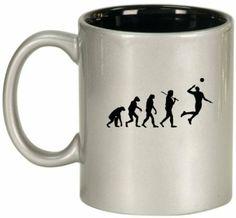 Amazon.com: Silver Ceramic Coffee Tea Mug Evolution Volleyball: Home & Kitchen $14.99 +tax+shipping