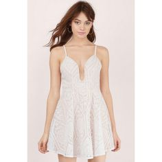 L'atiste Immy Lace Plunging Skater Dress ($54) ❤ liked on Polyvore featuring dresses, lace dress, lace plunge dress, lacy dress, plunge skater dress and skater dress