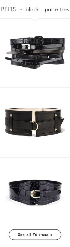 """""""BELTS  ~  black  ...parte tres"""" by kuropirate ❤ liked on Polyvore featuring accessories, belts, black, zip belt, maison margiela, leather belts, leather buckle belt, wide buckle belt, balmain and real leather studded belt"""