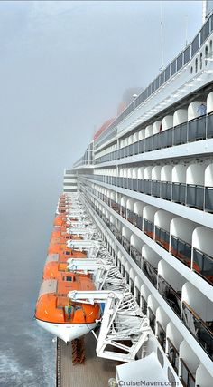 The fog begins to lift in the North Atlantic aboard Queen Mary 2.