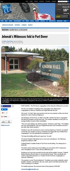 Another cult area bites the dust. Jw News, Kingdom Hall, Jehovah's Witnesses, Norfolk, Cemetery, Ontario, Canada, World, Jehovah Witness