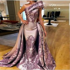 Quality One Shoulder Long Evening Gowns with Appliques Floor Length Formal Occasion Dresses with Overlay Skirt with free worldwide shipping on AliExpress Mobile Pageant Gowns, Prom Dresses, Reception Dresses, Wedding Dresses, Elegant Dresses, Pretty Dresses, Couture Dresses, Fashion Dresses, Vestidos Plus Size