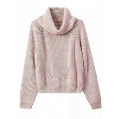 Choies Pink High Roll Neck Long Sleeve Ribbed Trim Chunky Knit Sweater ($23) ❤ liked on Polyvore featuring tops, sweaters, pink, pink top, roll neck top, thick knit sweater, chunky knit sweater and long sleeve sweater