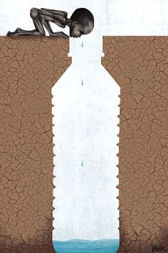 Water Conservation in World Water Day - Illustrations Save Water Poster Drawing, Poster On Save Water, The Big Theory, Art Environnemental, Water Issues, Water Scarcity, Save Environment, Satirical Illustrations, Meaningful Pictures
