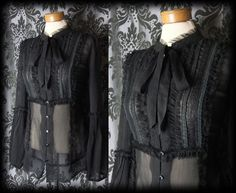 Gothic Black Sheer Frill Bib GOVERNESS Pussy Bow Blouse 8 10 Victorian Vintage - £29.00