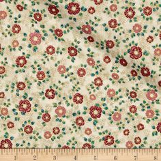 Kaufman La Scala 7 Metallic Small Flower Garnet from @fabricdotcom  From Robert Kaufman, this cotton print fabric features ornate floral designs in deep hues for an elegant feel. Perfect for quilting, apparel and home decor accents. Colors include red, pink, metallic gold, cream, light tan and shades of blue and green.