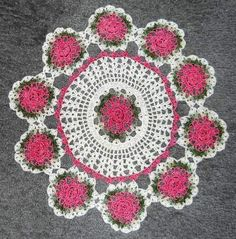 White Doily with Pink Roses I love it.