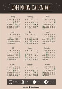 2014 Moon Calendar Template Design