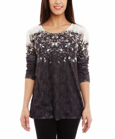 Another great find on #zulily! White & Charcoal Abstract Scoop Neck Top #zulilyfinds