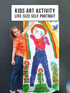 Kids art activity - Life-size self portrait http://mypoppet.com.au