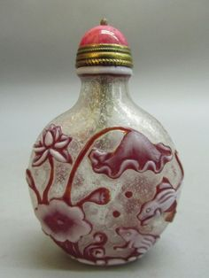 Chinese Peking Glass Carved Lotus Flower Frog Pattern Snuff Bottle in Antiques…