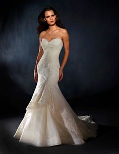 Sweetheart Mermaid Wedding Dress  with No Waist/Princess Seams in Lace. Bridal Gown Style Number:32687386