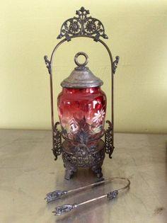 Antique Cranberry Glass Aurora Silver Plate Pickle Castor Original Condition  #Aurora