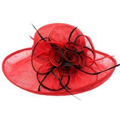 Chapeau Mariage Rouge en paille sisal Fraise #chapeaumariage #mariage #mode #bonplan #look sur Hatshowroom.com