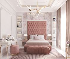 fascinating Pink Bedrooms With Images, Tips And Accessories To Help You Decorate Yours Welcome to a new collection of interior designs featuring 16 Awe-Inspiring Contemporary Bedroom Designs That You Must See Right Now. Room Design Bedroom, Luxury Bedroom Design, Room Ideas Bedroom, Home Room Design, Home Decor Bedroom, Luxury Kids Bedroom, Decor Room, Dream Bedroom, Bed Room