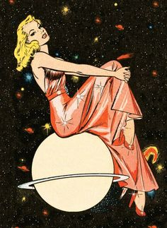 Lingerie Astrology: What Your Sign Says About Your Boudoir Style Venus May Illustration by Bill Everett.Venus May Illustration by Bill Everett. Bd Pop Art, Pop Art Girl, Pop Art Vintage, Retro Art, Retro Vintage, Vintage Space, Comic Kunst, Comic Art, Art And Illustration