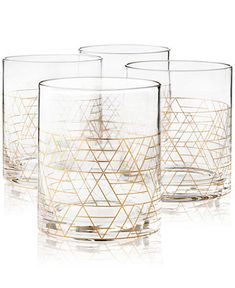 Hotel Collection Gold Decal Double Old-Fashioned Glasses, Set of 4, Created for Macy's & Reviews - Glassware - Dining - Macy's Stylish Beds, Old Fashioned Glass, Beauty Sale, Furniture For Small Spaces, Wedding Ring Bands, Drinkware, Gold, Decal, Glasses