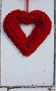 Red Heart Wreath - Rag Wreath - Fleece Fabric - All Year Wreath - Valentines Wreath - Christmas Wreath - Modern Rustic - Nursery Wall