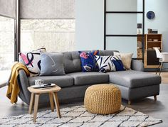 A leading interiors stylist explains how to dress a sofa with cushions and throws, making it the focal point of your living room Cushions For Grey Sofa, Yellow Cushions, Cozy Living Rooms, Living Room Sofa, Living Room Decor, Blue Lounge, John Lewis Sofas, Interior Rugs, Condo Interior