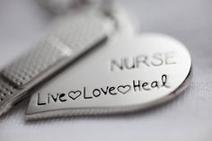 Live, love and heal! Nurse Party, Diy Xmas Gifts, Nursing Necklace, Medical Assistant, Medical Humor, Nurse Quotes, Stainless Steel Necklace, Band Aid, Nurse Gifts