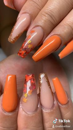 Halloween Acrylic Nails, Red Acrylic Nails, Gel Nails, Cute Acrylic Nail Designs, Fall Nail Designs, Orange Nail Designs, Grunge Nails, Swag Nails, Gorgeous Nails