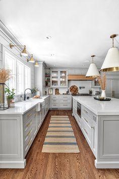Grey Kitchen Designs, Interior Design Kitchen, Interior Livingroom, Interior Office, Interior Ideas, Office Decor, Home Decor Kitchen, New Kitchen, Kitchen Layout