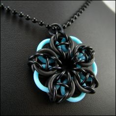 Chainmaille Pendant Glow in the Dark Black Blue Celtic Star by Janabolic
