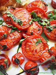 Fresh Basil Topped Slow Roasted Tomatoes delicious intense sweet and savoury flavour from the roasting makes this a perfect side dish to accompany fish or chicken, alternatively spread on fresh crusty bread.