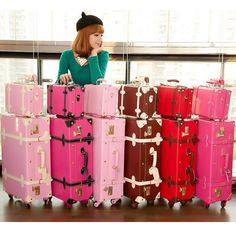 """Cheap Luggage Sets on Sale at Bargain Price, Buy Quality suitcase vintage, vintage bag, vintage metal from China suitcase vintage Suppliers at Aliexpress.com:1,Luggage Size:20"""",24"""" 2,Trolley luggage measurement:Other size 3,have without a pull rod:have 4,Item Height:58 inch 5,Main Material:PU"""