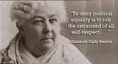 Elizabeth Cady Stanton (November 12, 1815 – October 26, 1902) was an American social activist, abolitionist, and leading figure of the early women's rights movement. Her Declaration of Sentiments, presented at the first women's rights convention held in 1848 in Seneca Falls, New York, is often credited with initiating the first organized women's rights and women's suffrage movements in the United States.  Wiki