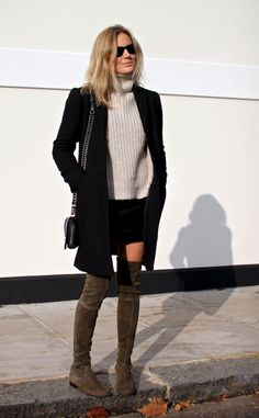 Try wearing over the knee boots with a cream polo neck knit and a simplistic black coat to get that sophisticated winter feel. Via Lucy Williams. Coat: Armani Exchange, Skirt: Brydie Mack for The Collaborator, Jumper: Zara Boots: Stuart Weitzman via Russell & Bromley, Bag: Rag & Bone via Vestiaire Collective.