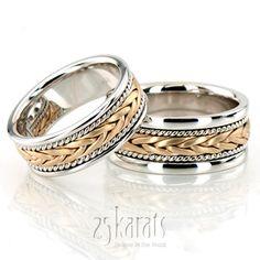 Stylish Sandblasted Hand Braided Wedding Band Set
