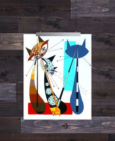 Letter M , Mid Century Modern Cat Alphabet, Giclee Print by Domin – Domcats Mid Century Modern Art, Mid Century Art, Here Kitty Kitty, Cat Art, Artsy Fartsy, Cats And Kittens, Giclee Print, Mid-century Modern, Illustration Art