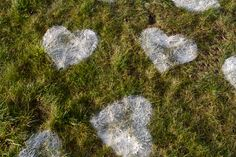 """Give someone you love a """"heart attack"""" by covering their lawn with flour hearts. (Oh Happy Day)"""