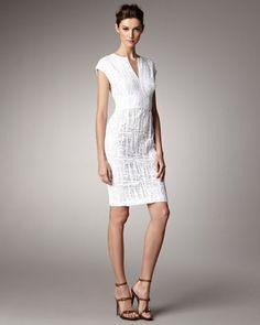 ShopStyle: Escada Lace Cap-Sleeve Dress